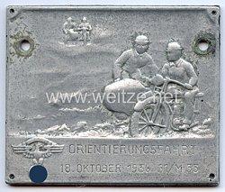 """NSKK - nichttragbare Teilnehmerplakette - """" 31/M 53 Orientierungsfahrt 18. Oktober 1936 """""""