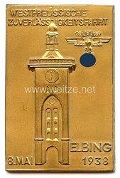 """NSKK - nichttragbare Teilnehmerplakette - """" Westpreussische Zuverlässigkeitsfahrt Elbing 8. Mai 1938 """""""