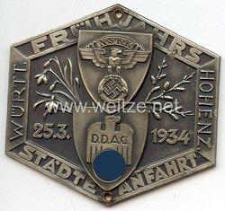"""NSKK / DDAC - nichttragbare Teilnehmerplakette """" Frühjahrs Städte Anfahrt 25.3.1934 Württ. Hohenz. """""""