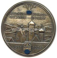 """NSKK - nichttragbare Teilnehmerplakette - """" 2. Allgäuer Gebirgsgeländefahrt 1934 Isny """""""