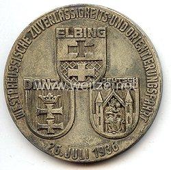 """NSKK Danzig - nichttragbare Teilnehmerplakette - """" Westpreussische Zuverlässigkeits- und Orientierungsfahrt 26. Juli 1936 - Elbing-Danzig-Deutsch Eylau """""""