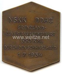 """NSKK / DDAC - nichttragbare Teilnehmerplakette - """" Grenzland-Zuverlässigkeitsfahrt 650 km durch den Schwarzwald 1.7.1934 - gewidmet von der Landeshauptstadt Karlsruhe """""""