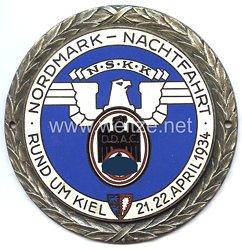 """NSKK / DDAC - nichttragbare Teilnehmerplakette - """" Nordmark-Nachtfahrt rund um Kiel 21./22. April 1934 """""""