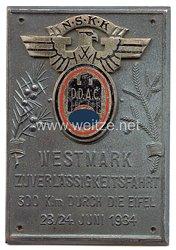 """NSKK / DDAC - nichttragbare Teilnehmerplakette - """" Westmark Zuverlässigkeitsfahrt 300 Klm durch die Eifel 23/24. Juni 1934 """""""