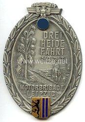 """NSKK - nichttragbare Teilnehmerplakette - """" NSKK Drei Heide Fahrt 1937 Motorbrigade Leipzig """""""