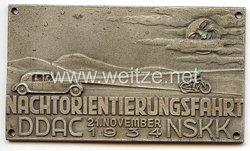 """NSKK / DDAC - nichttragbare Teilnehmerplakette - """" Nachtorientierungsfahrt 21. November 1934 """""""