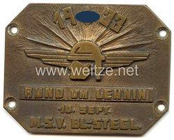 """III. Reich - nichttragbare Teilnehmerplakette - """" M.S.V. Bl.-Stegl. 10. Sept. 1933 Rund um Lehnin """""""