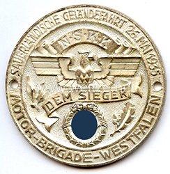 """NSKK - nichttragbare Siegerplakette - """" Sauerländische Geländefahrt 26. Mai 1935 - Motorbrigade Westfalen - Dem Sieger """""""