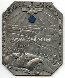 """NSKK - nichttragbare Teilnehmerplakette - """" Motorgruppe Westfalen - 5.Sauerländische Geländefahrt 10.7.1938 """""""