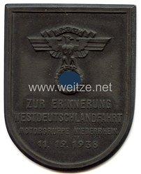 """NSKK - nichttragbare Teilnehmerplakette - """" Zur Erinnerung Westdeutschlandfahrt Motorgruppe Niederrhein 11.12.1938 """""""