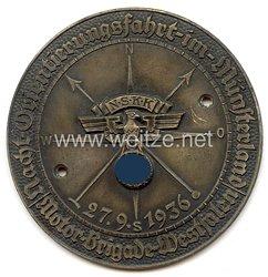 """NSKK - nichttragbare Teilnehmerplakette - """" Motor-Brigade Westfalen - Nacht-Orientierungsfahrt im Münsterland 27.9.1936 """""""