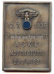 """NSKK - nichttragbare Teilnehmerplakette - """" NSKK-Motorstaffel 23/M82 - Orientierungsfahrt 12.7.1936 """""""