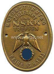 """NSKK - nichttragbare Teilnehmerplakette - """" Motorsturmtag Zielfahrt und NSKK Treffen Peine 13.8.1933 """""""