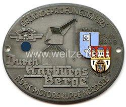 """NSKK - nichttragbare Teilnehmerplakette - """" Geländeprüfungsfahrt Durch Harburgs Berge NSKK Motorgruppe Nordsee 12. Juni 1938 Stade Lüneburg """""""