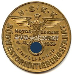 """NSKK - nichttragbare Teilnehmerplakette - """" Motorbrigade Südwest - Südwest-Orientierungsfahrt 4.4.1937 - Einzelfahrer """""""