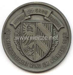 """III. Reich - nichttragbare Teilnehmerplakette - """" Motorbrigade Franken - Orientierungsfahrt rund um Nürnberg 1937 """""""