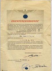 Generalkommissar in Riga/Lettland - Eigentümerurkunde