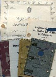 Luftwaffe - Dokumentengruppe für einen späteren Waffen-Unteroffizier der 2.(Pz.)/Schlachtgeschwader 9mit verliehener italienischer Auszeichnung