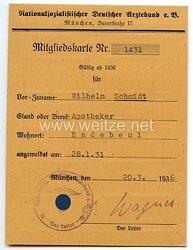 Nationalsozialistischer Deutscher Ärztebund e.V. - Mitgliedskarte