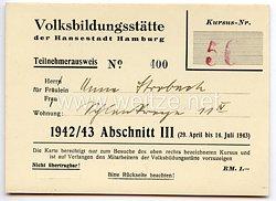 III. Reich - Volksbildungsstätte der Hansestadt Hamburg - Teilnehmerausweis