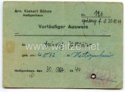 III. Reich -Arnold Kiekert und Söhne (AKS)Schloss- und Beschlagfabrik in Heiligenhaus - Vorläufiger Ausweis Nr. 126