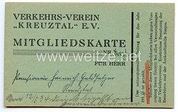"""III. Reich - Verkehrs-Verein """" Kreuztal """" e.V. - Mitgliedskarte für 1934"""