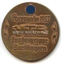 """III. Reich - nichttragbare Ehrenplakette - """" Ehrengabe 1933 DTC Landesgruppe Nordbayern -Lerne deine deutsche Heimat kennen """""""
