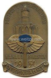 """III. Reich - nichttragbare Teilnehmerplakette - """" N.S.Hago Pfingsten 1934 Sternfahrt - Deutsch die Saar immerdar """""""