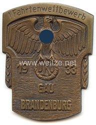 """III. Reich - nichttragbare Teilnehmerplakette - """" 1. Fahrtenwettbewerb 1933 DKV Gau Brandenburg """""""