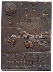 """DLV / NSKK - nichttragbare Teilnehmerplakette - """" Ballon Verfolgung Befreiungsfahrt Saarbrücken 30.6.1935 """""""