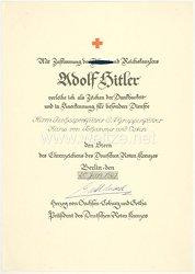 III. Reich - Reichssportführer SA-Gruppenführer Hans von Tschammer und Osten - seine Verleihungsurkunde für den Stern des Ehrenzeichens des Deutschen Roten Kreuzes 1937-1939