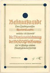 SS - Besitzurkunde für die Dienstauszeichnung der NSDAP in Bronze für den späteren SS-Hauptsturmführer Theodor Clausen
