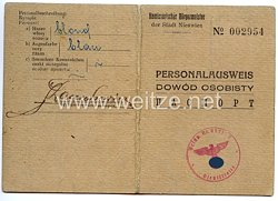 III. Reich / Kommissarischer Bürgermeister der Stadt Nieswiez - Personalausweis für einen Mann des Jahrgangs 1910
