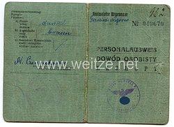 III. Reich / Kommissarischer Bürgermeister der Gemeinde Nagorno - Personalausweis für eine Frau des Jahrgangs 1921