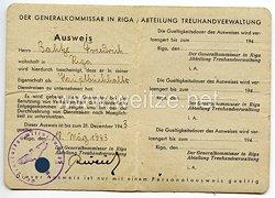 III. Reich / Generalkommissar in Riga - Abteilung Treuhandverwaltung - Ausweis für einen Mann