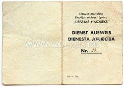 III. Reich / Lettland - Libauer Brotfabrik - Dienst Ausweis für eine Frau