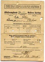 III. Reich / Lettland - Lettlands Beitrag zur Ernährung in der grossen Zeit des Zweiten Weltkrieges - Ablieferungskarte für Eier und Geflügel 1943/44
