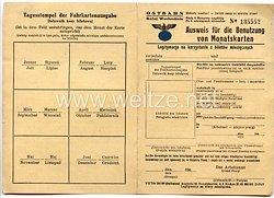 III. Reich - Ostbahn Krakau - Ausweis für die Benutzung von Monatskarten