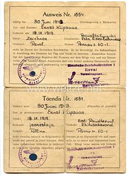 III. Reich / Estland - Eisenbahn-Betriebsdirektion Reval - Ausweis für einen Mann des Jahrgangs 1919 in der Deutschen Reichsbahn