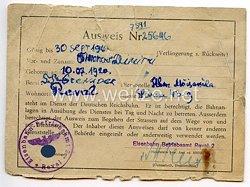 III. Reich / Estland - Eisenbahn-Betriebsdirektion Reval - Ausweis für einen Mann des Jahrgangs 1920 in der Deutschen Reichsbahn