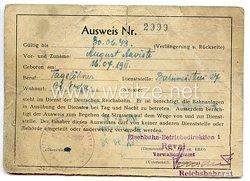 III. Reich / Estland - Eisenbahn-Betriebsdirektion Reval - Ausweis für einen Mann des Jahrgangs 1911 in der Deutschen Reichsbahn