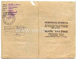 III. Reich / Weißrussland - Kreis- und Stadtverwaltung der Stadt Sluzk - Personalausweis für eine Frau des Jahrgangs 1914
