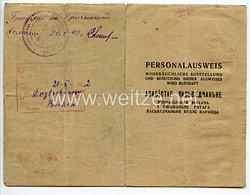 III. Reich / Weißrussland - Kreisbürgermeister der Stadt Rudensk - Personalausweis für eine Jungen des Jahrgangs 1925