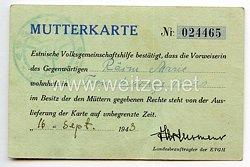 III. Reich / Estland - Estnische Volksgemeinschaftshilfe ( EVGH ) - Mutterkarte für eine Frau
