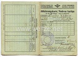 III. Reich / Lettland - Zentralverband der lettischen Milchwirte - Ablieferungskarte für einen Mann in Prodes pagasta