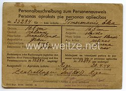 III. Reich / Lettland - Zentrallager des RND Riga - Personalbeschreibung zum Personenausweisfür eine Frau