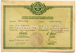 III. Reich / Lettland - Ausweis der Wirtschaftskammer Lettland