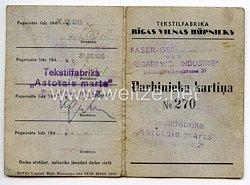 """III. Reich / Lettland - Ostland Faser-Gesellschaft m.b.H."""" Rigaer Wollindustrie """" - Mitarbeiterkarte"""
