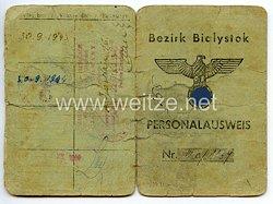 III. Reich / Besetzte Ostgebiete - Bezirk Bialystok - Personalausweis für einen Mann des Jahrgangs 1909