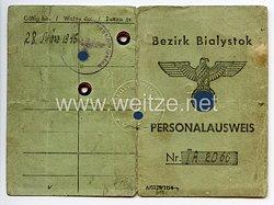 III. Reich / Besetzte Ostgebiete - Bezirk Bialystok - Personalausweis für einen Jungen des Jahrgangs 1929